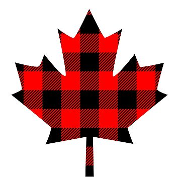 Buffalo Check Red and Black Plaid Lumberjack Canadiana Style Maple Leaf by Garaga
