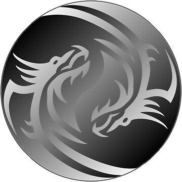 Yin Yang Dragon, tribal by Tanastish
