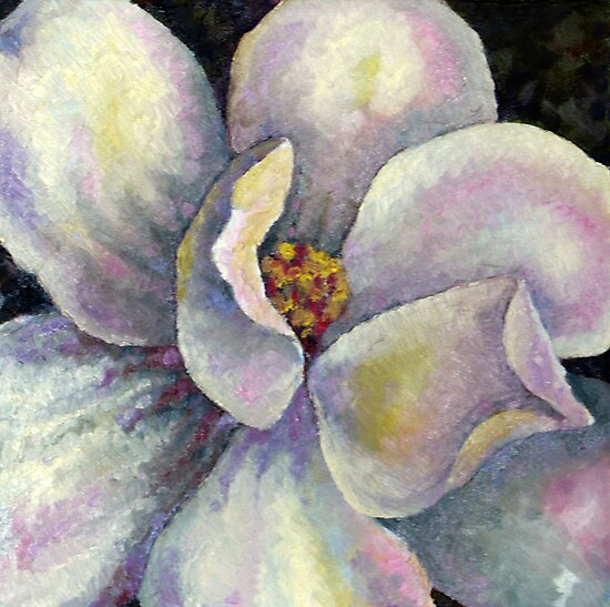 little gem magnolia- oil on canvas 12 x 12 inches by Deborah Green