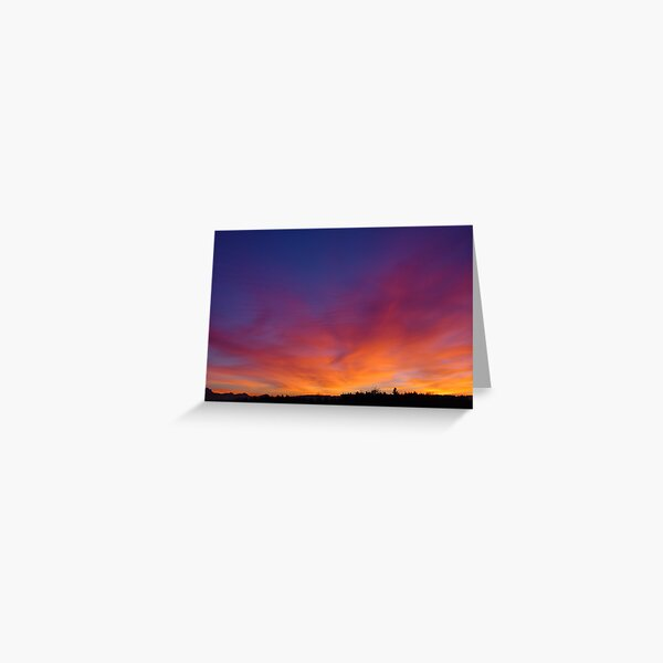 Fiery winter sunset Greeting Card