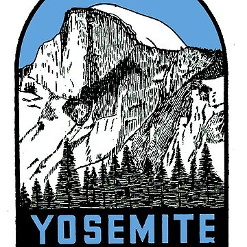 Yosemite Half dome - Yosemite National Park vintage car decal USA by midcenturydave