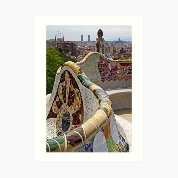 Reaching out to Barcelona in Park Guell  Art Print