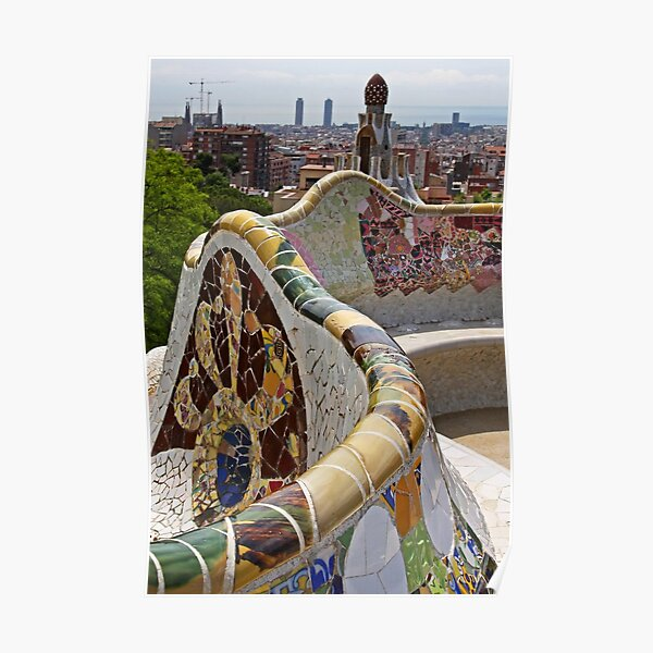 Reaching out to Barcelona in Park Guell  Poster