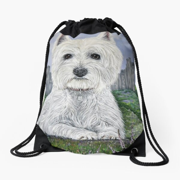 Westie in the Heather Drawstring Bag