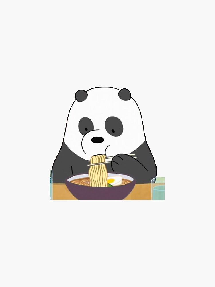Panda eating ramen by artzyxo