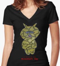 a child of the mineshaft gap - black and white Women's Fitted V-Neck T-Shirt