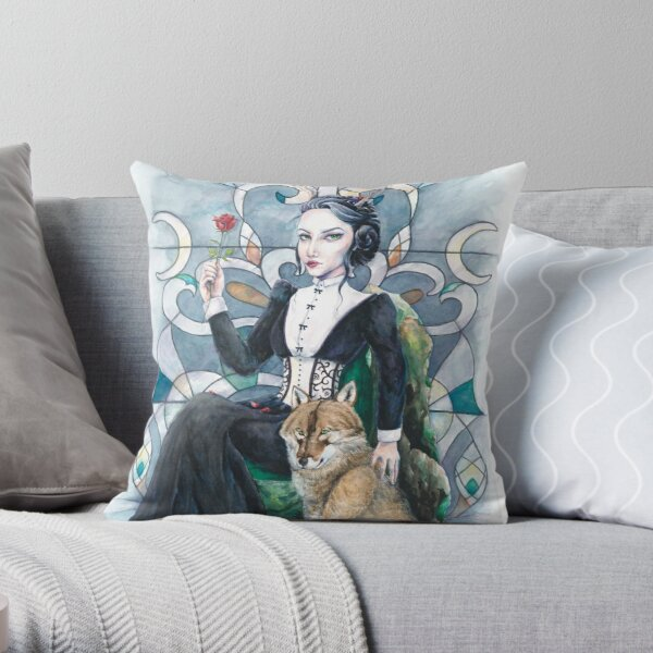 A girl and her wolf Throw Pillow