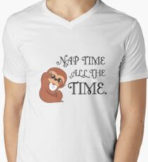 Baby Sloth - Nap Time is All the Time Men's V-Neck T-Shirt