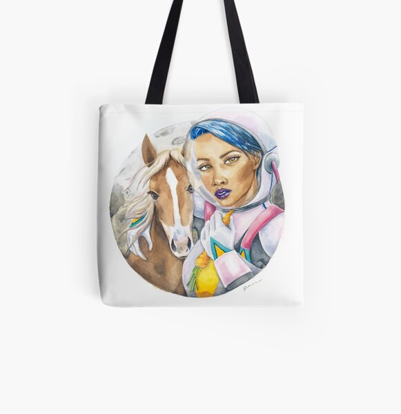 A girl and her horse All Over Print Tote Bag