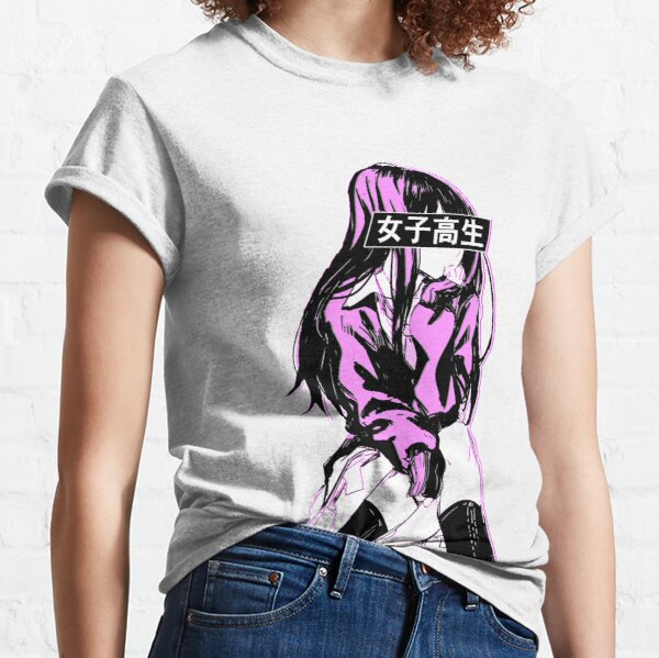 SCHOOLGIRL (Pink) - Sad Anime Japanese Aesthetic Classic T-Shirt