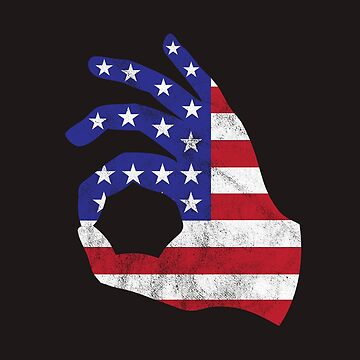 Independence Day Shirt Vintage American Flag USA OK Sign Tee by arnaldog