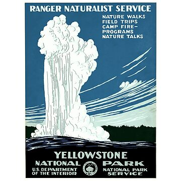 Yellowstone National Park - Old Faithful - Vintage Travel Poster Design by Chunga