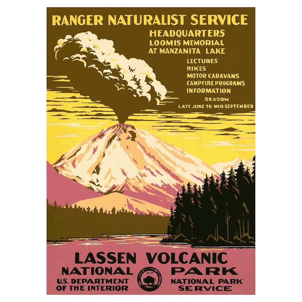 Lassen Volcanic National Park - Vintage Travel Poster Design\
