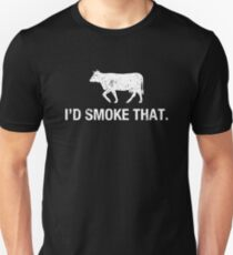 Funny I'd Smoke That Cow BBQ Father's Day Grill Lover T Shirt T-shirt unisexe