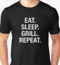 Funny Eat Sleep Grill Repeat Father's Day BBQ Grill Lover T Shirt T-shirt unisexe