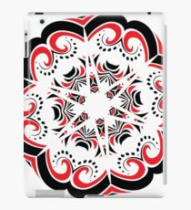 Floral Black and Red Round Ornament iPad Case/Skin