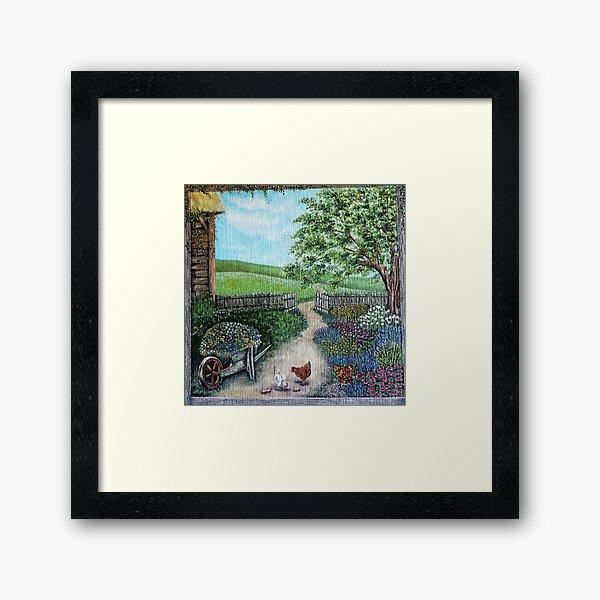 Cottage Garden with Hens Framed Art Print