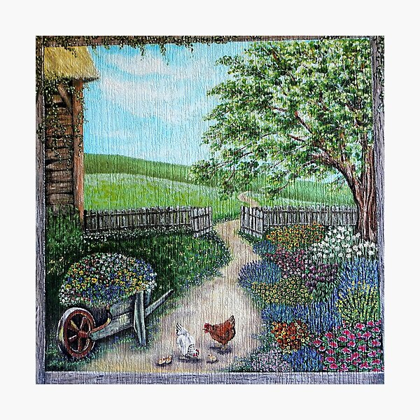 Cottage Garden with Hens Photographic Print
