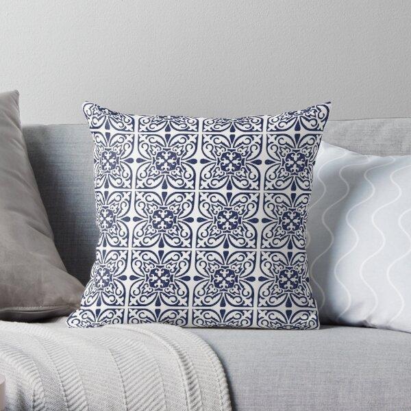 Indigo Navy Blue White Moroccan Trellis Lattice Pattern Throw Pillow