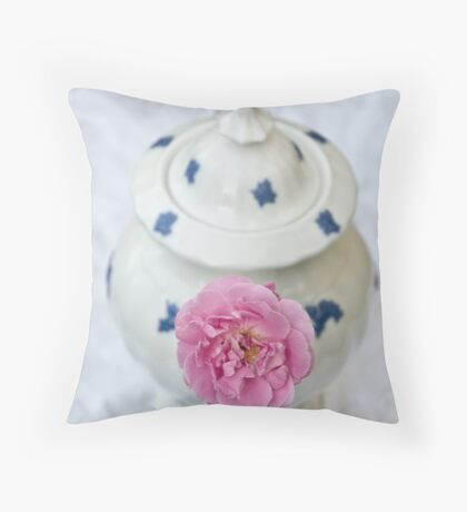 The Rose and the Teapot Throw Pillow