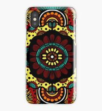 Retro Flower Power on Rusted Red iPhone Case