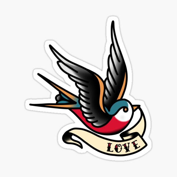 Traditional Swallow - Love Sticker