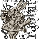 Alice In Wonderland White Rabbit Grunge by Incognita Enterprises
