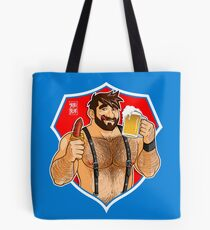 ADAM LIKES SAUSAGE AND BEER - RED BACKGROUND Tote Bag
