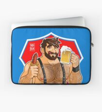 ADAM LIKES SAUSAGE AND BEER - RED BACKGROUND Laptop Sleeve