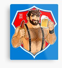 ADAM LIKES SAUSAGE AND BEER - RED BACKGROUND Metal Print