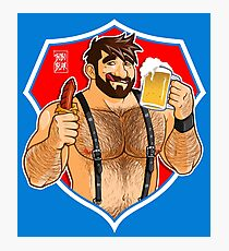 ADAM LIKES SAUSAGE AND BEER - RED BACKGROUND Photographic Print