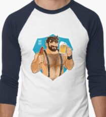 ADAM LIKES SAUSAGE AND BEER - BLUE BACKGROUND Men's Baseball ¾ T-Shirt
