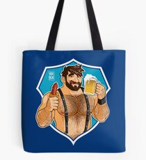 ADAM LIKES SAUSAGE AND BEER - BLUE BACKGROUND Tote Bag