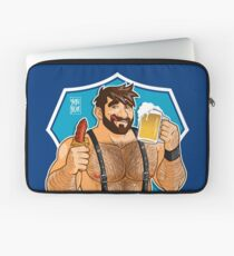 ADAM LIKES SAUSAGE AND BEER - BLUE BACKGROUND Laptop Sleeve