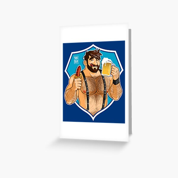 ADAM LIKES SAUSAGE AND BEER - BLUE BACKGROUND Greeting Card