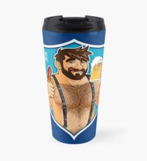 ADAM LIKES SAUSAGE AND BEER - BLUE BACKGROUND Travel Mug