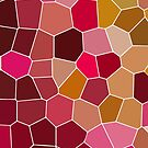 Hexagon Abstract Pink_Olive by KatayoonDesign