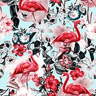 Floral and Flamingo IX pattern by Burcu Korkmazyurek
