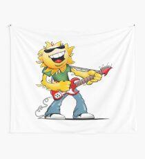 Guitar Jammin' Sun Cartoon Wall Tapestry