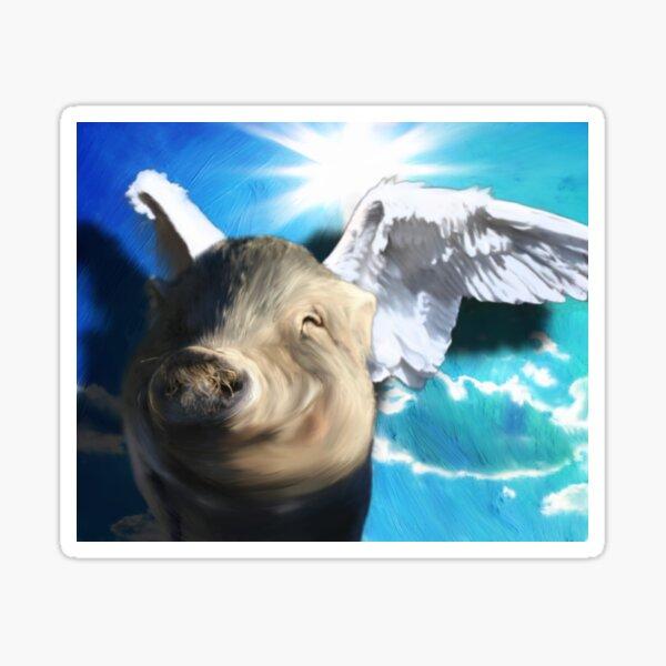 Vietnamese Pot Bellied Pig - Mini Pig Angel Portait Memorial Sticker