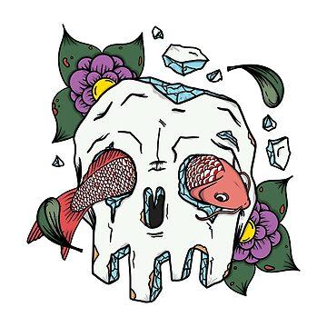 Tattoo skull and koi fish by DeDip
