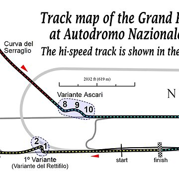 MONZA TRACK, Map of the Grand Prix circuit at Autodromo Nazionale Monza. The hi-speed track is shown in the background. by TOMSREDBUBBLE