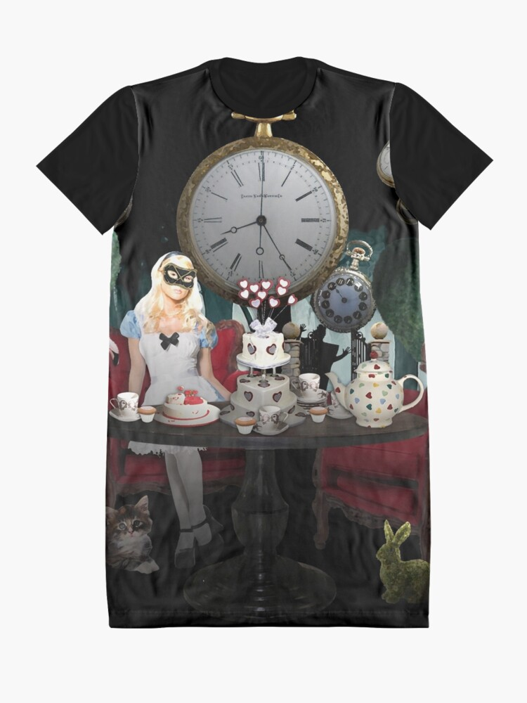 Alternate view of Alice In Wonderland Collage Graphic T-Shirt Dress