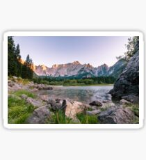 Sunset at the lake of Fusine, Italy Sticker