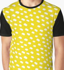 Brush Dot Pattern Yellow Graphic T-Shirt