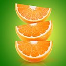 Orange pieces on green by 6hands