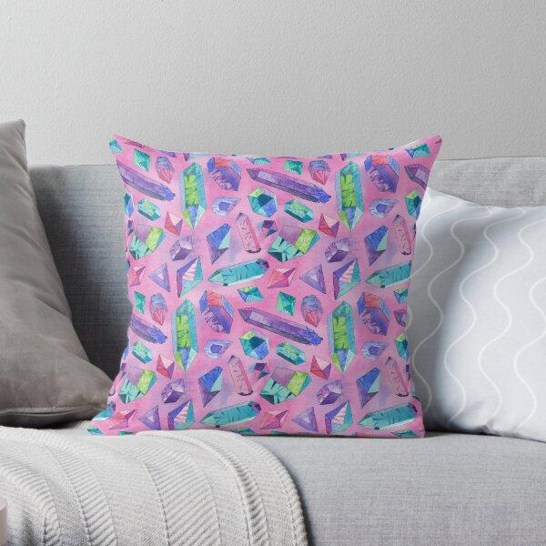Pink faceted gems Throw Pillow