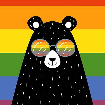 Gay Pride Bear In Sunglasses With Rainbow Flag by Ricaso