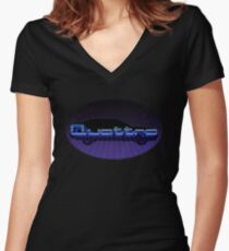 Audi Quattro 80s Retro Neon Style Women's Fitted V-Neck T-Shirt