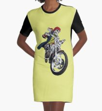 Skull on Motorcycle Graphic T-Shirt Dress